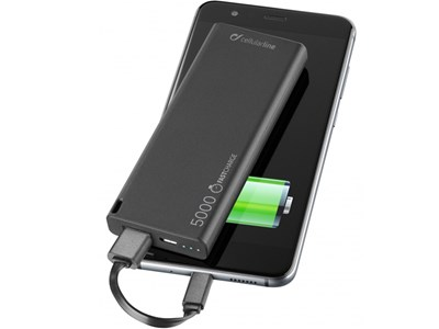 Powerbank 5.000 mAh USB. SLIM, sort